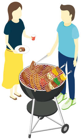 Man and woman barbecuing. Vector illustration.
