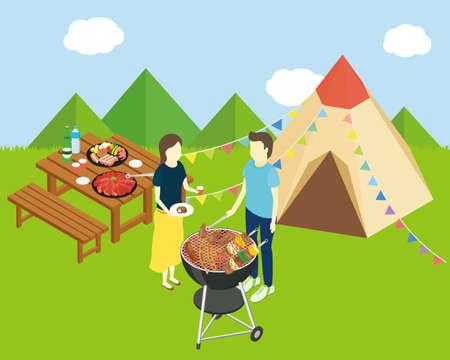 Men and women camping. Vector illustration. Illusztráció