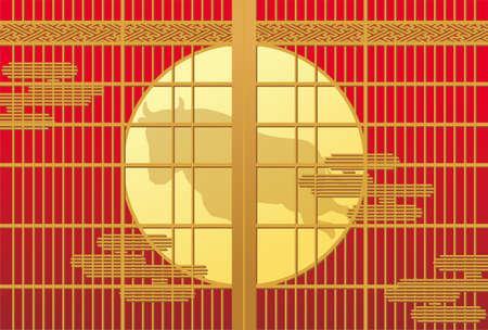 Cow reflected in shoji. Vector illustration