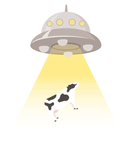A UFO that kidnaps cows. Vector illustration