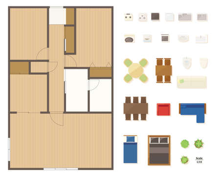 Floor plan layout set for condominiums and houses.