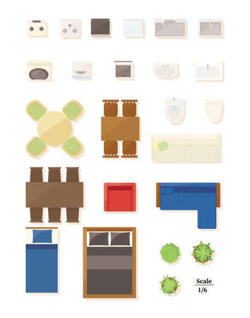 Floor plan set of furniture and home appliances.