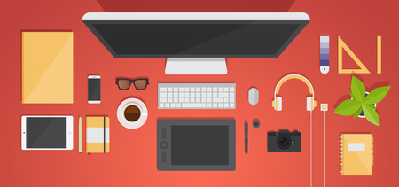 office accessories: Top view of the workplace, vector illustration, office accessories: monitor, keyboard, tablet, camera, notepad, pen, glasses, player, headphones. Flat style. Illustration