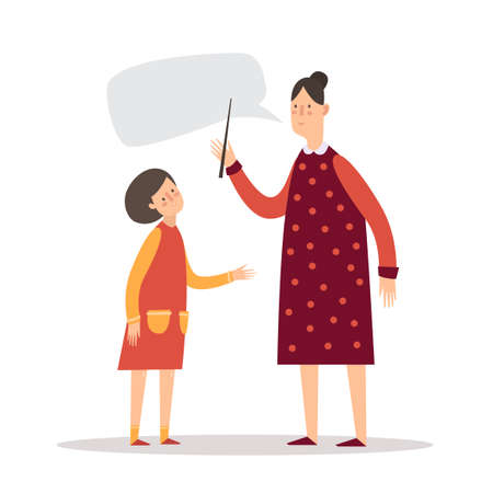 teacher and student: The teacher and student. A little girl listens to the teacher. Illustration