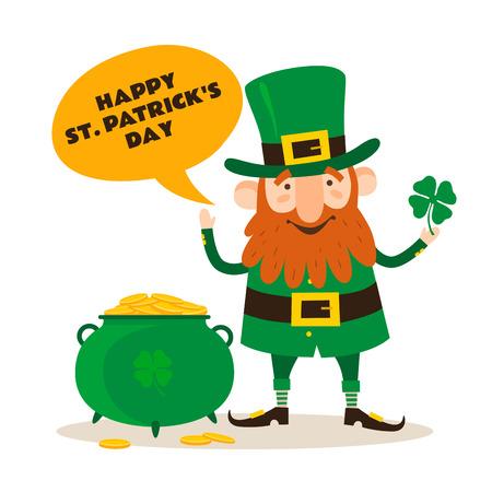 Saint Patricks Day. Funny Leprechaun with leaf clover and pot of gold on a light background. Vector illustration. Illustration
