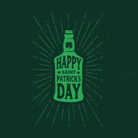 irish pub label design: St. Patricks Day. Retro style emblems bottle of beer. Typography. Vector illustration.