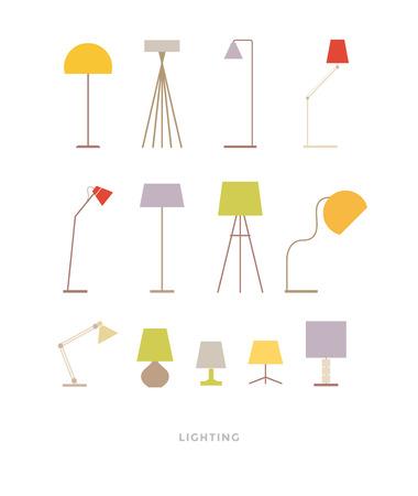 ensemble de lampes colorées sur un fond blanc. meubles de couleur. illustration vectorielle