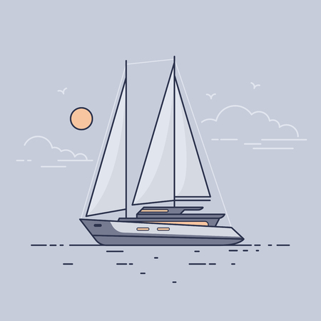 Luxury sailing yacht floating on the waves of the sea in the background evening sky. Side view. Flat style.