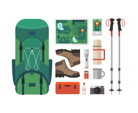 Set of equipment for travel, recreation, adventure. Collection camping equipment: backpack, GPS, medicine chest, mountain boots, thermos, map, mountain climbing sticks. Preparing for the trip.