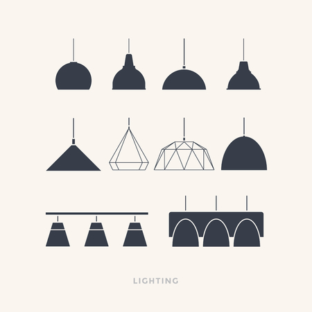 Set of silhouettes of the lamps on a light background. Furniture icons. Vector illustration. 矢量图像