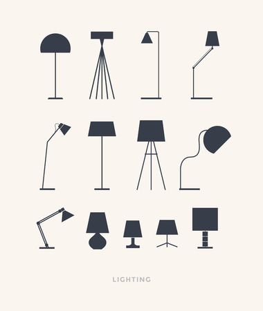 Set of silhouettes of table lamps on a light background. Furniture icons. Vector illustration.