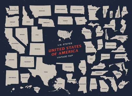 Vintage map of United States of America 50 states vector map with name of each state isolated on dark background.