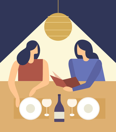 vestidos de epoca: Cute girls choosing from a Restaurant Menu. Young women at a restaurant. Vector illustration.