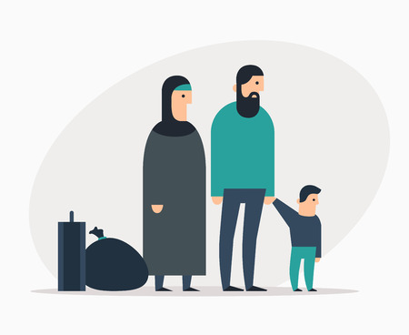 Arab family: father, mother and child. Refugees and immigrants.