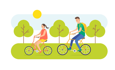Young woman and man ride the bike. Vector illustration cartoon vacation on bicycles.