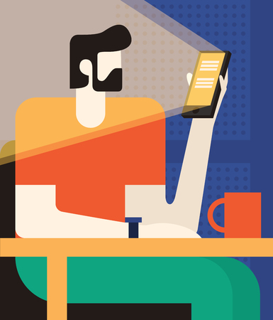 Man is sitting in a cafe with a gadget. Lunch break. Vector illustration. Illustration