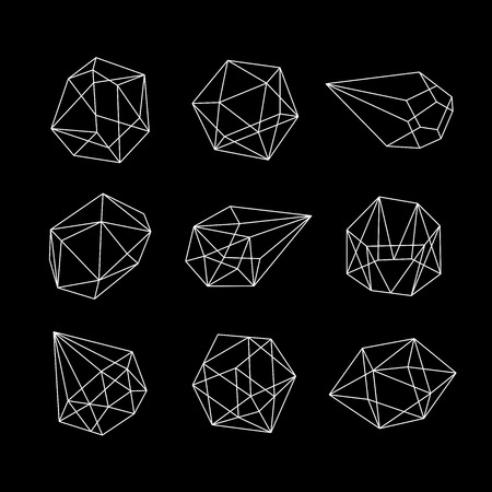 Set of geometric crystals. Geometric shapes. Vector graphics collection Stock Illustratie