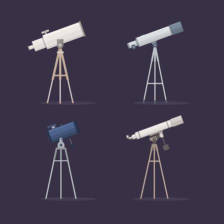 Set telescopes on support to observe stars. Astronomy. Vector illustration.