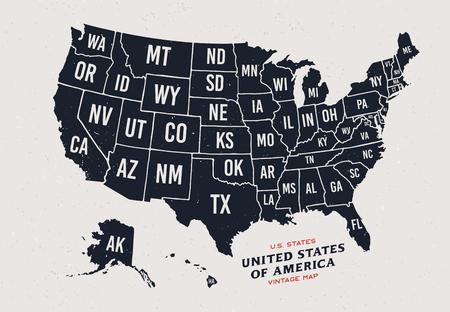Mapa de cosecha de los Estados Unidos de América Mapa de los 50 estados del vector aislados sobre fondo claro. Foto de archivo - 84609114