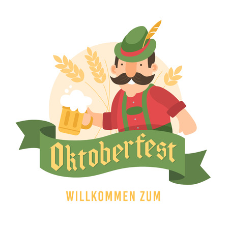 Man in red shirt with glass of beer in wheat. Green banner with words Oktoberfest, Welcome.