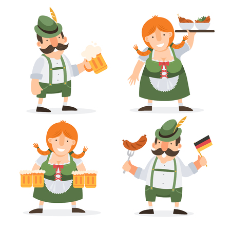 bavarian girl: Oktoberfest. Funny cartoon characters in folk costumes of Bavaria celebrate and have fun at Oktoberfest beer festival.
