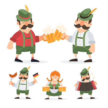 Oktoberfest. Funny cartoon characters in folk costumes of Bavaria celebrate and have fun at Oktoberfest beer festival.
