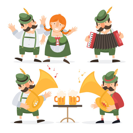 Oktoberfest. Funny cartoon characters and musicians in folk costumes of Bavaria celebrate and have fun at Oktoberfest beer festival.