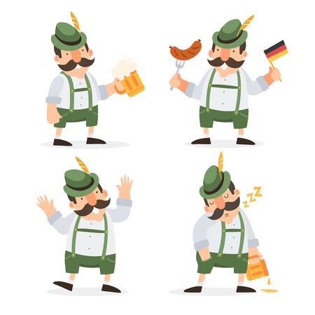pretzel: Oktoberfest. Funny cartoon characters in folk costumes of Bavaria celebrate and have fun at Oktoberfest beer festival.