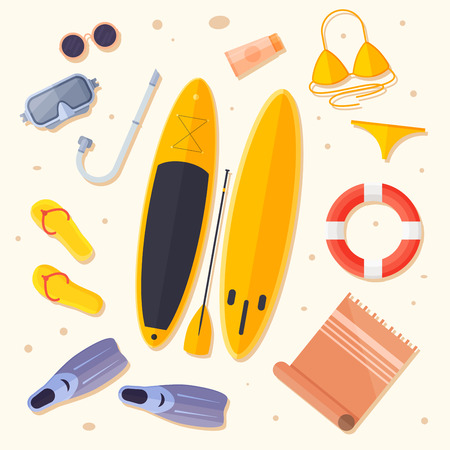 Set of items for holiday by sea: surfboard, flippers, swimsuit, mask for diving, mat, lifebuoy, flip flops illustration. Illustration