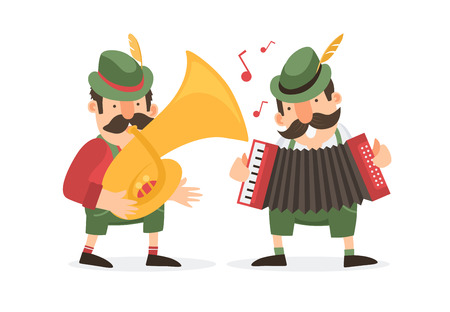 Two german cartoon musicians in bavarian costumes plays trumpets. Vector illustration.