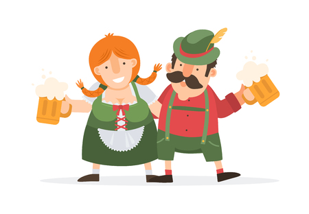 Oktoberfest. Funny cartoon man and women in traditional Bavarian costume celebrate and have fun at Oktoberfest beer festival. Vector illustration. Ilustração