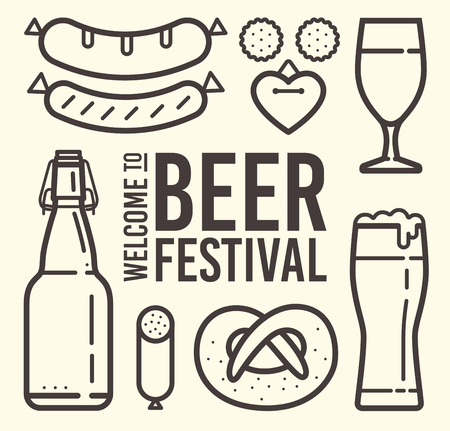 Contour of icons on the theme of beer festival: beer mug, sausages, pretzel, bavarian hat, accordion, gingerbread. Welcome to Beer Festival Illustration