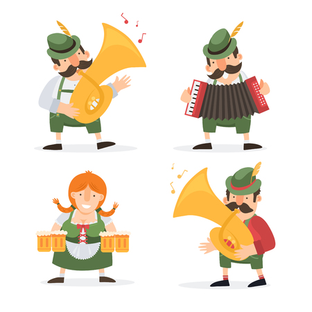 Oktoberfest. Funny cartoon characters and musicians in folk costumes of Bavaria celebrate and have fun at Oktoberfest beer festival. Vector illustration.