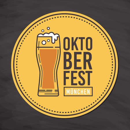 Coaster with image of a beer glass and inscription of Oktoberfest in Munich. Vector illustration.