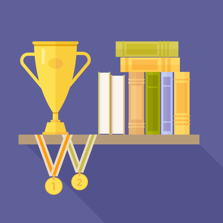 Shelf of books and prizes: medals and cup on blue background. Vector illustration.