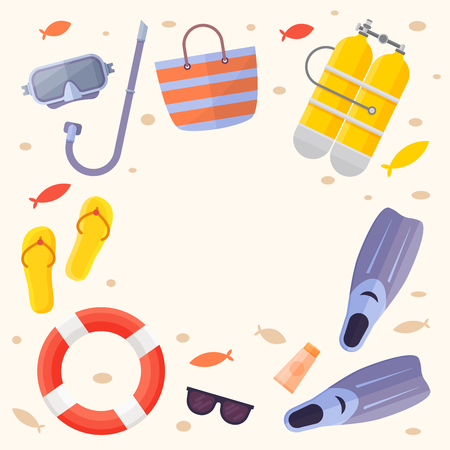 flippers: Set of items for beach holiday: sunglasses, flippers, oxygen cylinders, mask for swimming, lifebuoy, bag, small fish, flip flops. Vector illustration.