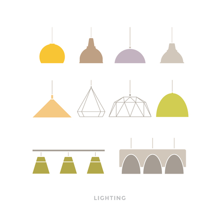 Set of colored modern lamps on light background. Furniture icons. Vector illustration. Flat style. Illustration