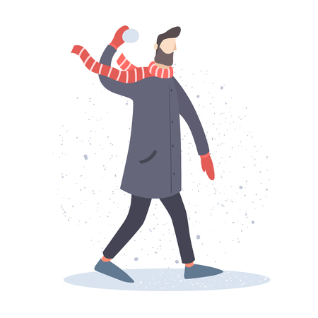 Young man playing in the snowballs outdoors. Man in an overcoat and scarf. Vector illustration on light background. Illustration