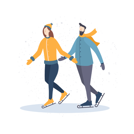 Winter recreation. Cartoon girl and guy skating. Vector illustration on a light background.