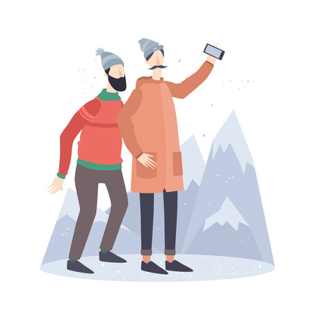 telephone cartoon: Funny young people do selfie on the background of snowy mountains.