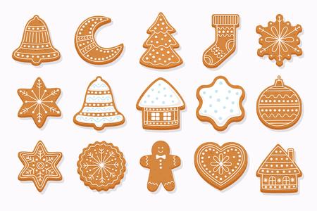 Gros pain d'épice de Noël: maisons en pain d'épice, croissant, bonhomme en pain d'épice, flocons de neige, chaussette, arbre de Noël, cloche, étoile, boule de nouvel an sur fond clair. Illustration vectorielle