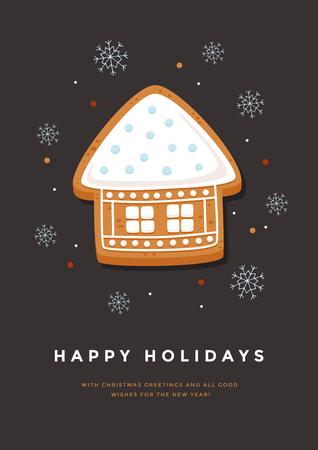 Carte de Noël avec maison en pain d'épice et inscription Joyeuses Fêtes. Modèle pour la conception de vos cartes de vacances. Illustration vectorielle Banque d'images - 89366417