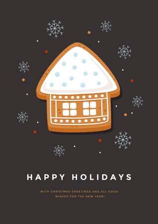 Christmas card with gingerbread house and inscription Happy Holidays. Template for the design of your holiday cards. Vector illustration.
