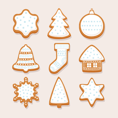 Set Christmas gingerbread with glaze: gingerbread house, snowflake, sock, Christmas tree, bell, star, new years ball on light background. Vector illustration