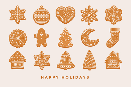 Big set Christmas gingerbread: gingerbread houses, crescent, gingerbread man, snowflakes, sock, Christmas tree, bell, star, new year's ball on light background. Vector illustration. Illustration