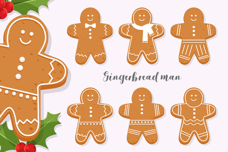 Set of smiling gingerbread man. Holiday sweet cookie isolated on light background. Symbol of Merry Christmas and Happy New Year. Cartoon vector illustration.