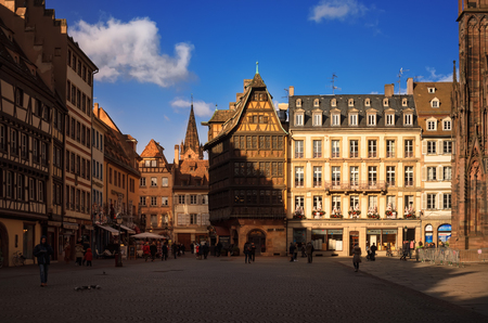 STRASBOURG, FRANCE - JANUARY 5, 2017: Cathedral Square in old sity. View of the traditional half - timbered house Kammerzell - the most famous secular building in Strasbourg. Alsace, France. Editorial