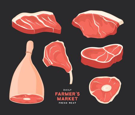 Establecer diferentes cortes de carnes. Imágenes para el concepto del mercado y la tienda del agricultor. Ilustración vectorial Foto de archivo - 91759030