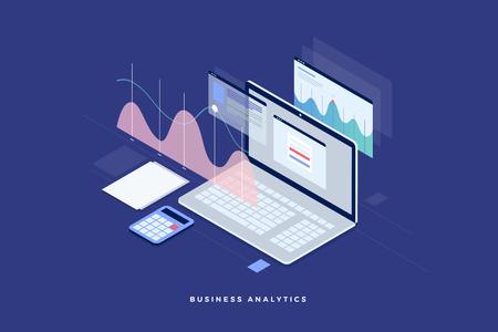 Strategia aziendale di concetto. Dati di analisi e investimenti. Successo aziendale Revisione finanziaria con elementi laptop e infografici. Design piatto isometrico 3D. Illustrazione vettoriale Vettoriali
