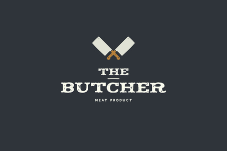 Icon of butcher with picture of two kitchen hatchet. Design elements for meat stores, packaging and advertising. Vector Illustration.